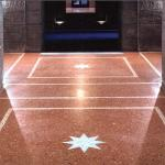 Terrazzo floor with inlay panels